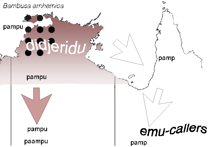 map of spread of bamboo word